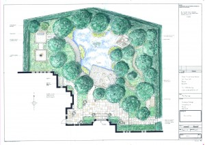 Garden design, rendered in colour